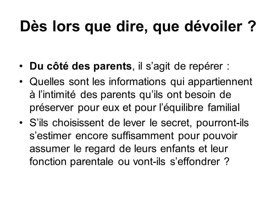 Dès lors que dire, que dévoiler ? •Du côté des parents, il s'agit de repérer : •Quelles sont les informations qui appartiennent à l'intimité des paren