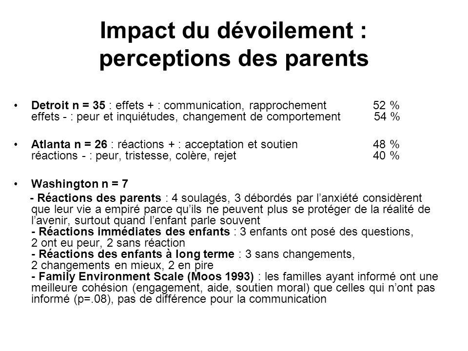 Impact du dévoilement : perceptions des parents •Detroit n = 35 : effets + : communication, rapprochement 52 % effets - : peur et inquiétudes, changem