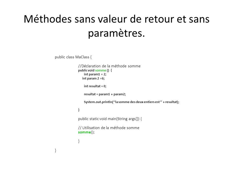 Variables globales et variables locales public class MaClass { // variable globale static int variable = 5; //Déclaration de la méthode somme Public static void afficher () { //variable locale int variable = 2; System.out.println(variable); } public static void main(String args[]) { afficher(); }