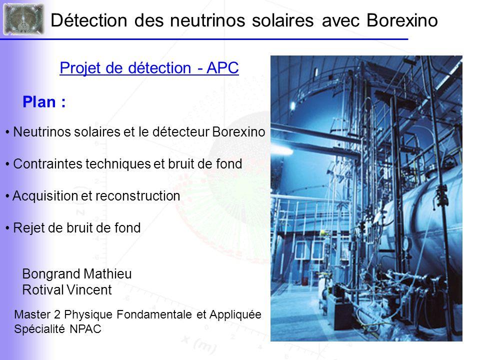 Principe de détection On détecte les neutrinos solaires par diffusion élastique : Dans Borexino on s'intéresse plus particulièrement à la raie du 7 Be : 862 MeV « Front Compton » mesuré v + e - → v + e - L'électron de recul est détecté par scintillation.