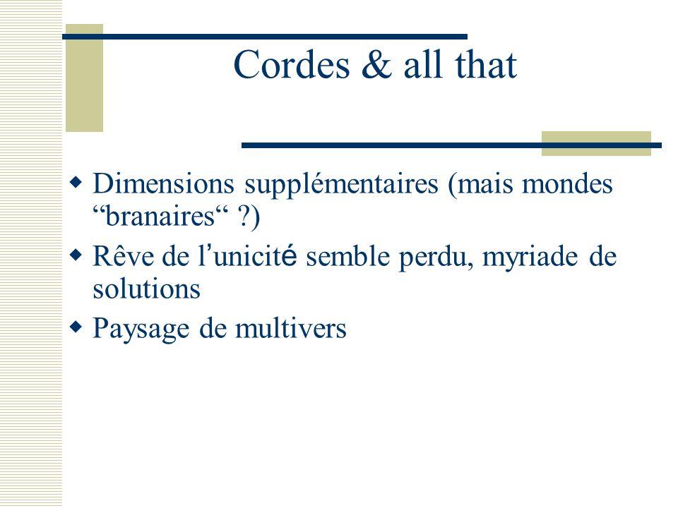 """Cordes & all that  Dimensions supplémentaires (mais mondes """"branaires"""" ?)  Rêve de l ' unicit é semble perdu, myriade de solutions  Paysage de mult"""