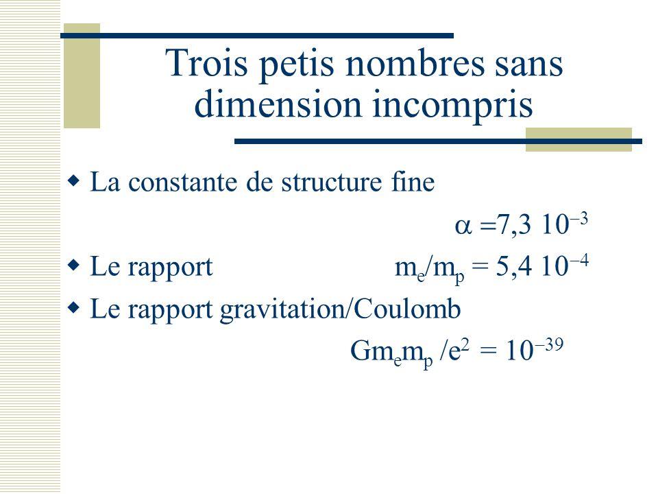 Trois petis nombres sans dimension incompris  La constante de structure fine    Le rapport m e /m p = 5,4    Le rapport grav