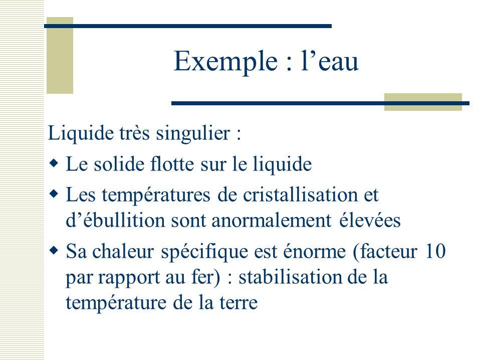 Exemple : l'eau Liquide très singulier :  Le solide flotte sur le liquide  Les températures de cristallisation et d'ébullition sont anormalement éle