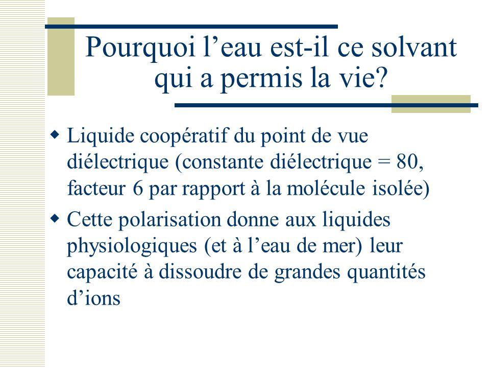 Pourquoi l'eau est-il ce solvant qui a permis la vie?  Liquide coopératif du point de vue diélectrique (constante diélectrique = 80, facteur 6 par ra