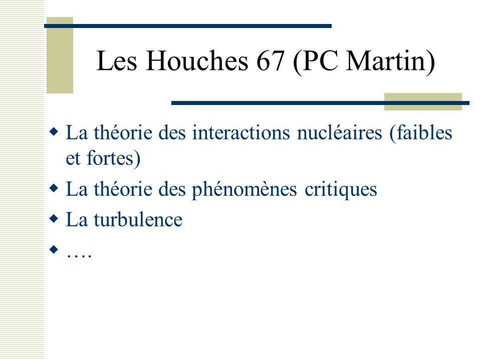 Les Houches 67 (PC Martin)  La théorie des interactions nucléaires (faibles et fortes)  La théorie des phénomènes critiques  La turbulence  ….