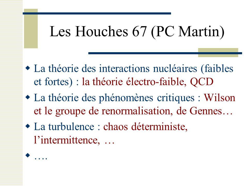 Les Houches 67 (PC Martin)  La théorie des interactions nucléaires (faibles et fortes) : la théorie électro-faible, QCD  La théorie des phénomènes c