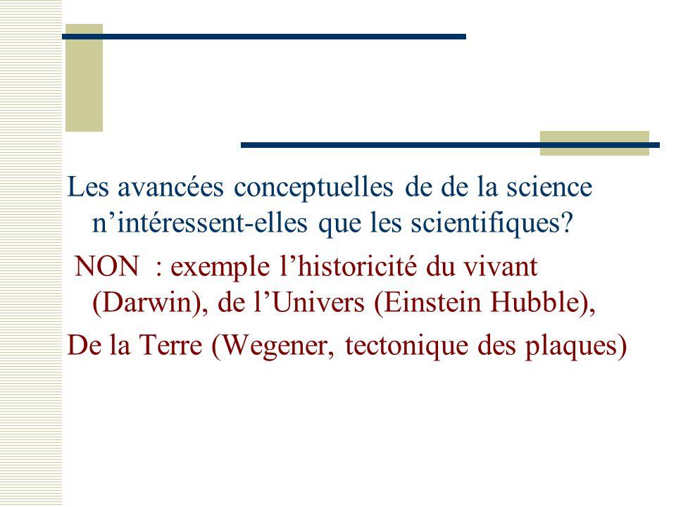 NON : exemple l'historicité du vivant (Darwin), de l'Univers (Einstein Hubble), De la Terre (Wegener, tectonique des plaques)