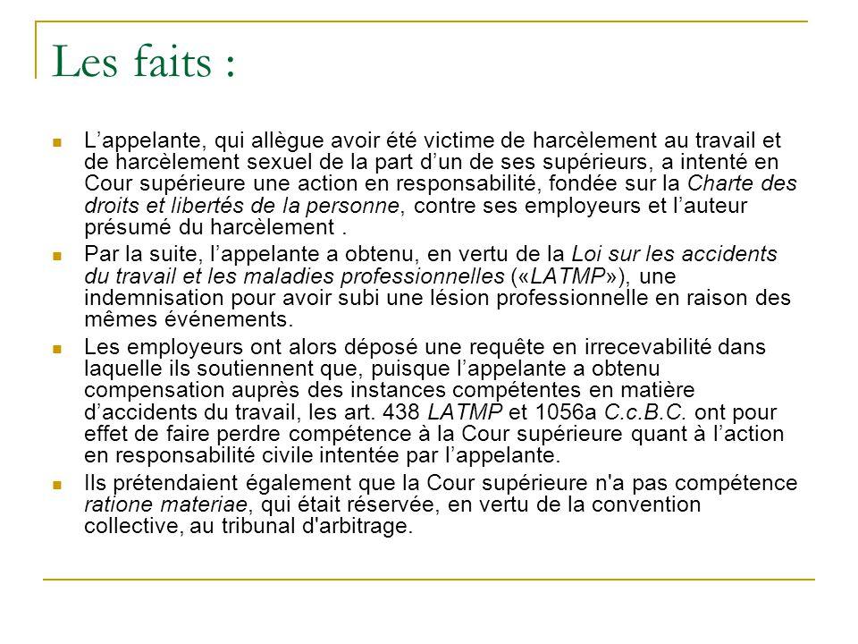 Faits procéduraux  La Cour supérieure refuse d'accorder la requête en irrecevabilité.