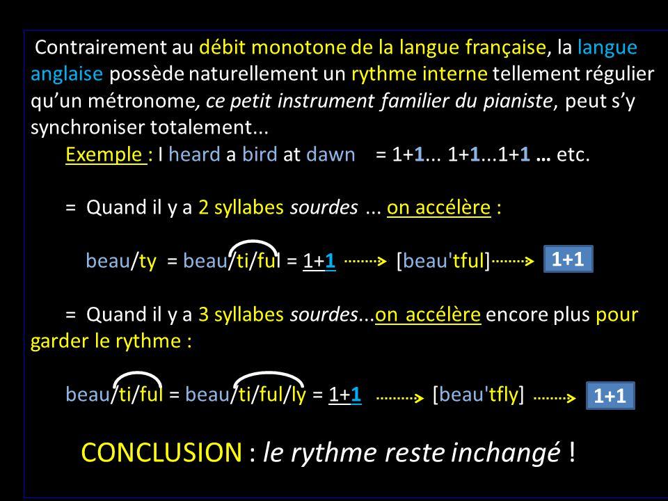 Contrairement au débit monotone de la langue française, la langue anglaise possède naturellement un rythme interne tellement régulier qu'un métronome, ce petit instrument familier du pianiste, peut s'y synchroniser totalement...
