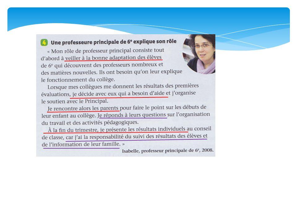 Mots qui doivent être présents dans votre trace écrite: -Guide ou accompagne -Rencontre -responsabilité -Parents -Conseil de classe