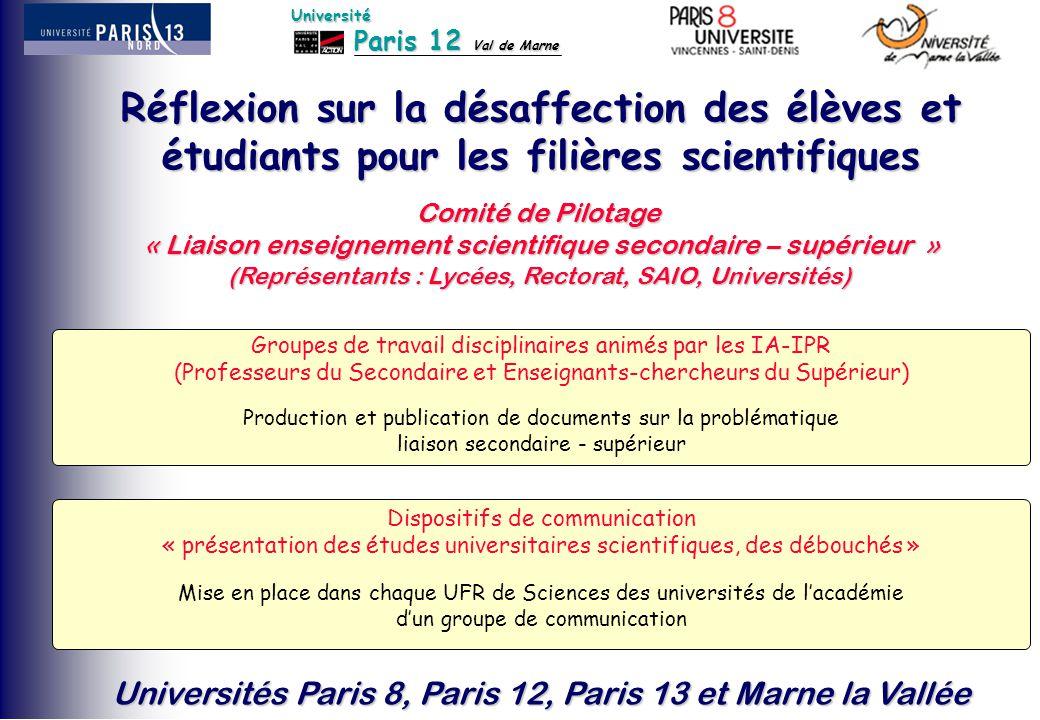 Paris 12 Val de Marne Université Universités Paris 8, Paris 12, Paris 13 et Marne la Vallée Réflexion sur la désaffection des élèves et étudiants pour