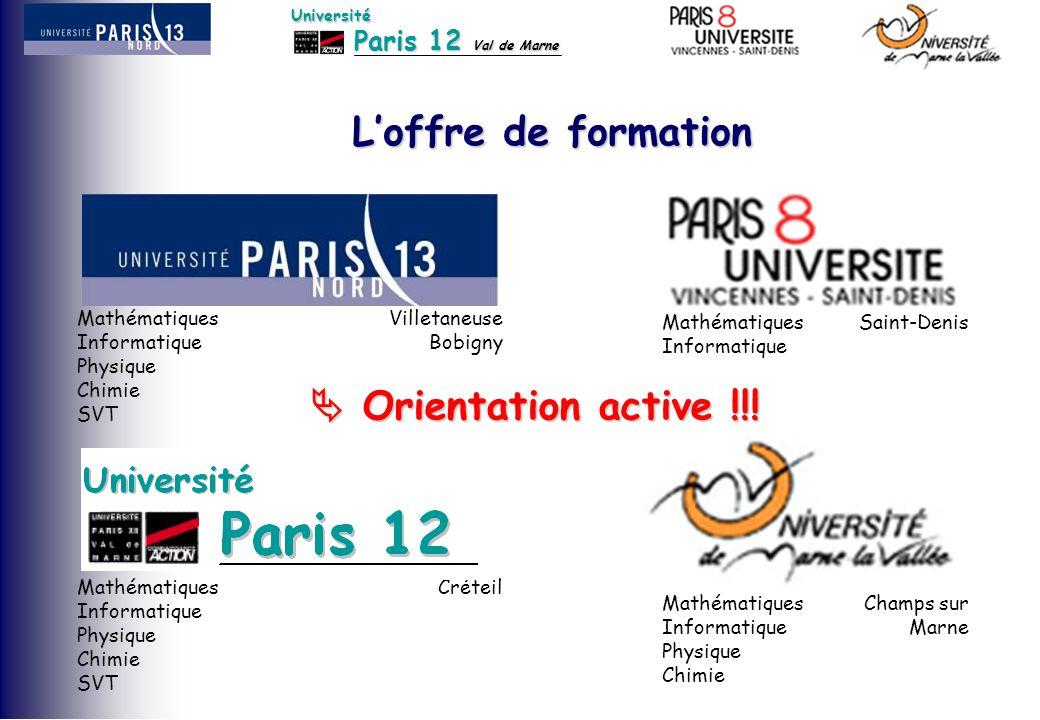 Paris 12 Val de Marne Université L'offre de formation Mathématiques Informatique Physique Chimie SVT Villetaneuse Bobigny Mathématiques Informatique P