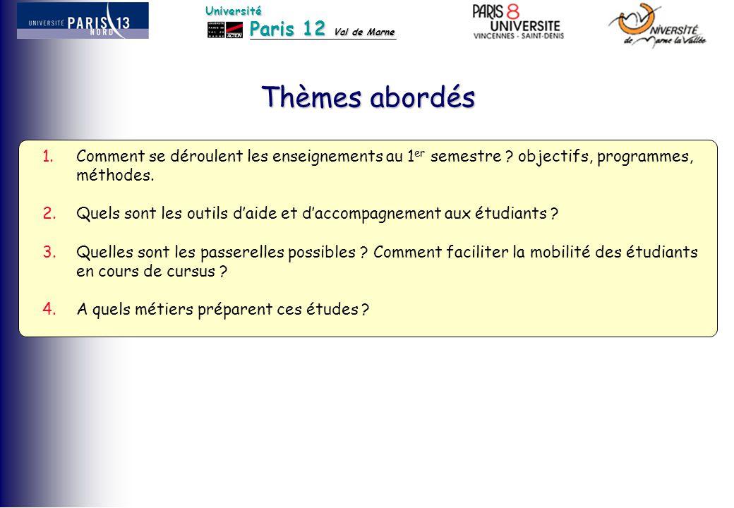 Paris 12 Val de Marne Université Thèmes abordés 1.Comment se déroulent les enseignements au 1 er semestre ? objectifs, programmes, méthodes. 2.Quels s