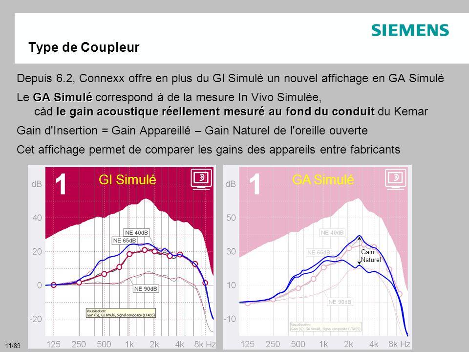 11/89 Type de Coupleur Depuis 6.2, Connexx offre en plus du GI Simulé un nouvel affichage en GA Simulé GASimulé le gain acoustique réellement mesuré a