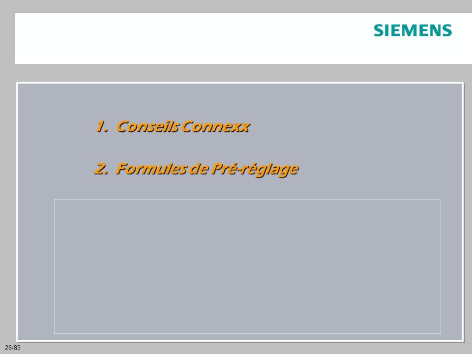 26/89 1.Conseils Connexx 2. Formules de Pré-réglage 3.