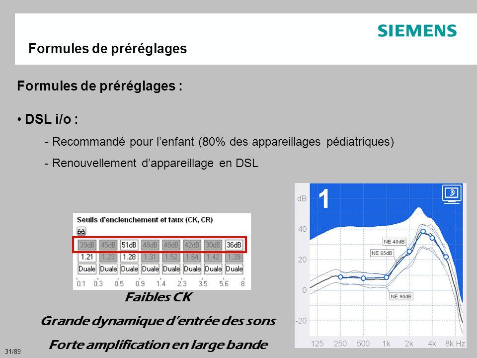 31/89 Formules de préréglages : • DSL i/o : - Recommandé pour l'enfant (80% des appareillages pédiatriques) - Renouvellement d'appareillage en DSL For