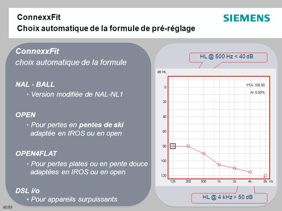 46/89 HL @ 500 Hz < 40 dB pente ≥ 40 dB par double octave (500-2k ou 1k – 4k) HL @ 4 kHz > 50 dB ConnexxFit choix automatique de la formule NAL - BALL
