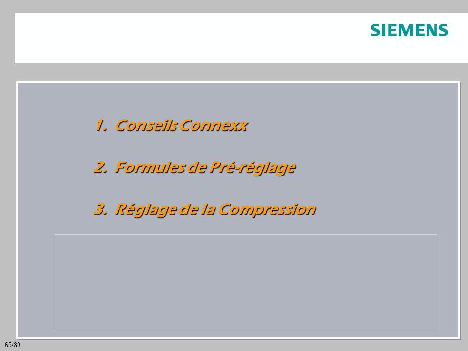 65/89 1. Conseils Connexx 2. Formules de Pré-réglage 3. Réglage de la Compression 4. Traitement de la parole et du bruit 5. Interactions entre TPB et