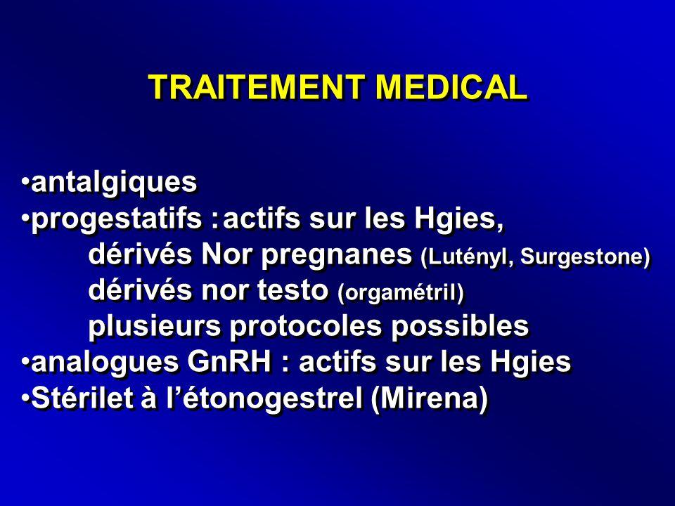 TRAITEMENT MEDICAL •antalgiques •progestatifs :actifs sur les Hgies, dérivés Nor pregnanes (Lutényl, Surgestone) dérivés nor testo (orgamétril) plusieurs protocoles possibles •analogues GnRH : actifs sur les Hgies •Stérilet à l'étonogestrel (Mirena) •antalgiques •progestatifs :actifs sur les Hgies, dérivés Nor pregnanes (Lutényl, Surgestone) dérivés nor testo (orgamétril) plusieurs protocoles possibles •analogues GnRH : actifs sur les Hgies •Stérilet à l'étonogestrel (Mirena)
