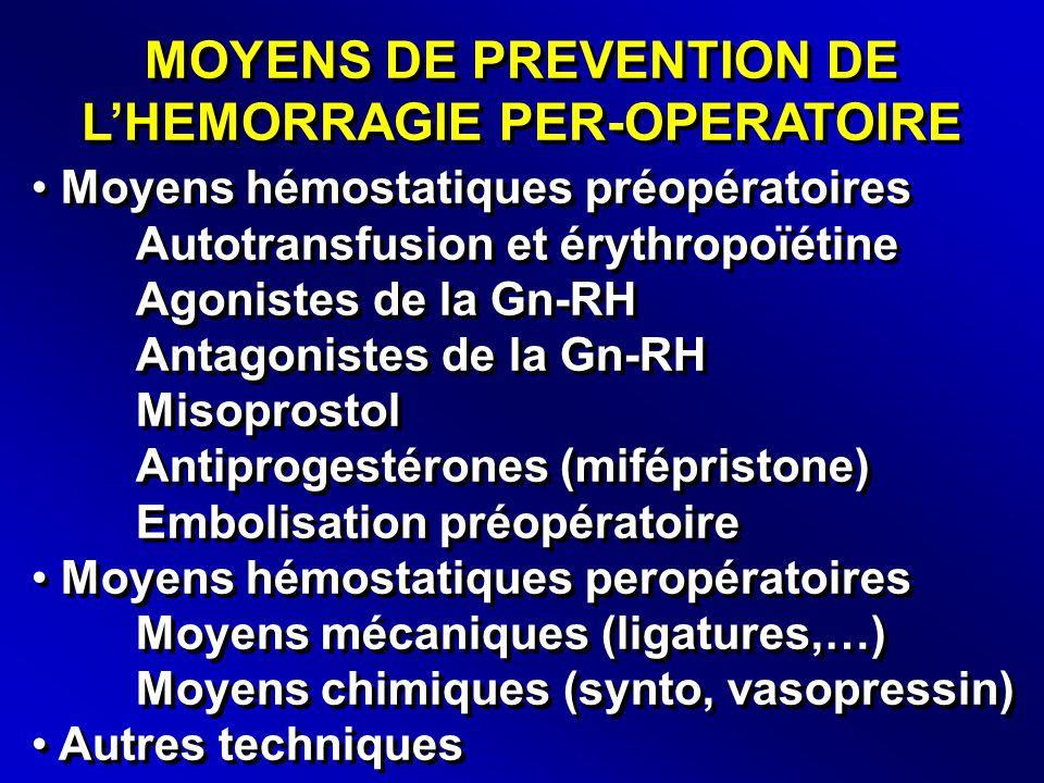 MOYENS DE PREVENTION DE L'HEMORRAGIE PER-OPERATOIRE • Moyens hémostatiques préopératoires Autotransfusion et érythropoïétine Agonistes de la Gn-RH Antagonistes de la Gn-RH Misoprostol Antiprogestérones (mifépristone) Embolisation préopératoire • Moyens hémostatiques peropératoires Moyens mécaniques (ligatures,…) Moyens chimiques (synto, vasopressin) • Autres techniques • Moyens hémostatiques préopératoires Autotransfusion et érythropoïétine Agonistes de la Gn-RH Antagonistes de la Gn-RH Misoprostol Antiprogestérones (mifépristone) Embolisation préopératoire • Moyens hémostatiques peropératoires Moyens mécaniques (ligatures,…) Moyens chimiques (synto, vasopressin) • Autres techniques