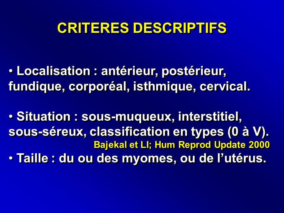 CRITERES DESCRIPTIFS • Localisation : antérieur, postérieur, fundique, corporéal, isthmique, cervical.