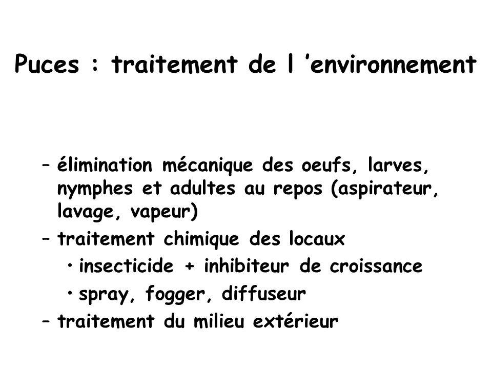 Puces : traitement de l 'environnement –élimination mécanique des oeufs, larves, nymphes et adultes au repos (aspirateur, lavage, vapeur) –traitement