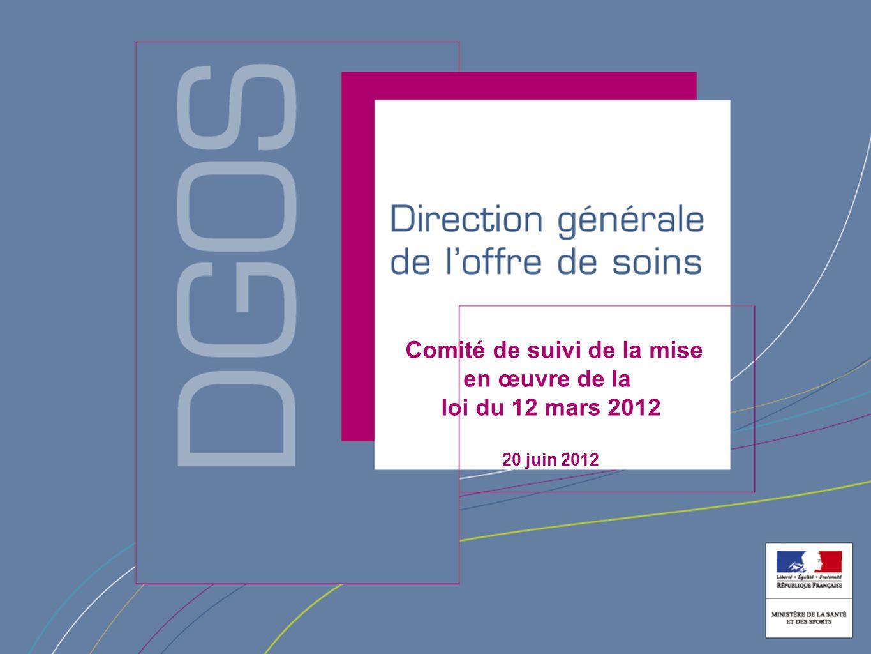 Direction générale de l'offre de soin Comité de suivi de la mise en œuvre de la loi du 12 mars 2012 20 juin 2012