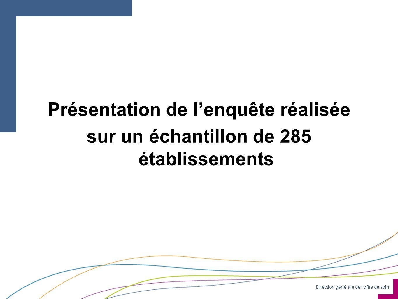 Direction générale de l'offre de soin Présentation de l'enquête réalisée sur un échantillon de 285 établissements