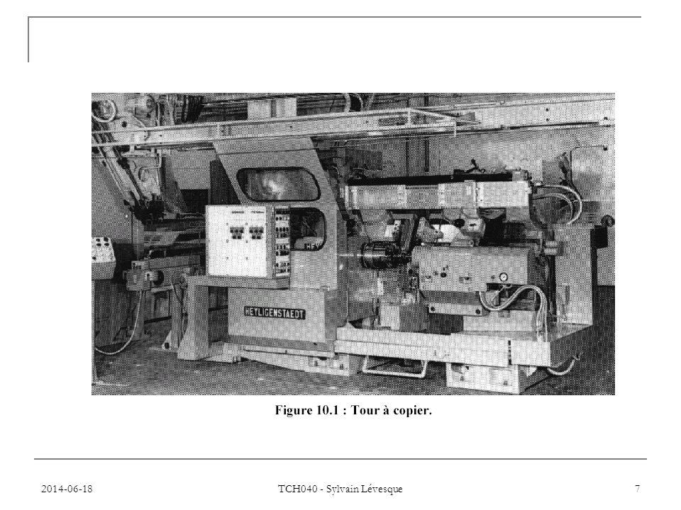 2014-06-18 TCH040 - Sylvain Lévesque 28 3 types de machines  Machines point à point: pointeuses, perceuses, taraudeuses, poinçonneuse, soudeuse point à point  Machines paraxiales: tour ou fraiseuse n'opérant qu'un axe à la fois  Machines en contournage: plusieurs axes simultanés.