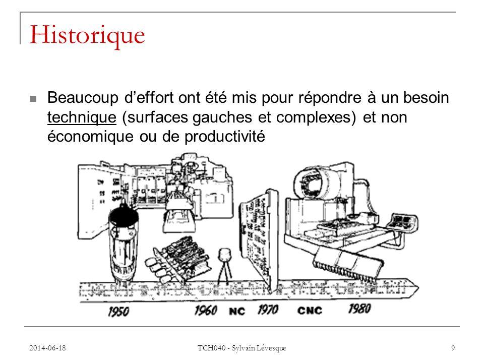 2014-06-18 TCH040 - Sylvain Lévesque 9 Historique  Beaucoup d'effort ont été mis pour répondre à un besoin technique (surfaces gauches et complexes) et non économique ou de productivité
