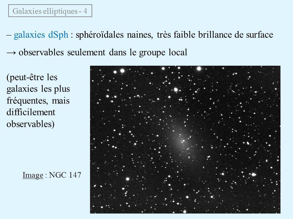 Galaxies elliptiques - 4 – galaxies dSph : sphéroïdales naines, très faible brillance de surface → observables seulement dans le groupe local (peut-êt