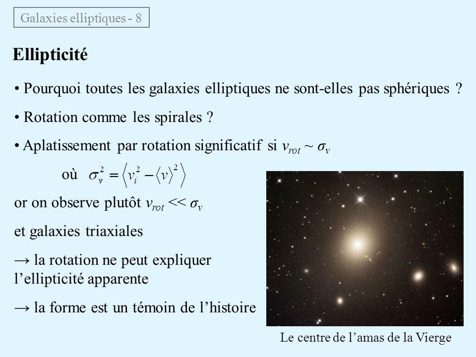 Galaxies elliptiques - 8 • Pourquoi toutes les galaxies elliptiques ne sont-elles pas sphériques ? • Rotation comme les spirales ? • Aplatissement par