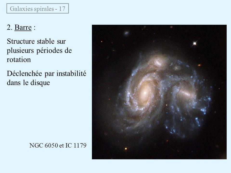 Galaxies spirales - 17 2. Barre : Structure stable sur plusieurs périodes de rotation Déclenchée par instabilité dans le disque NGC 6050 et IC 1179