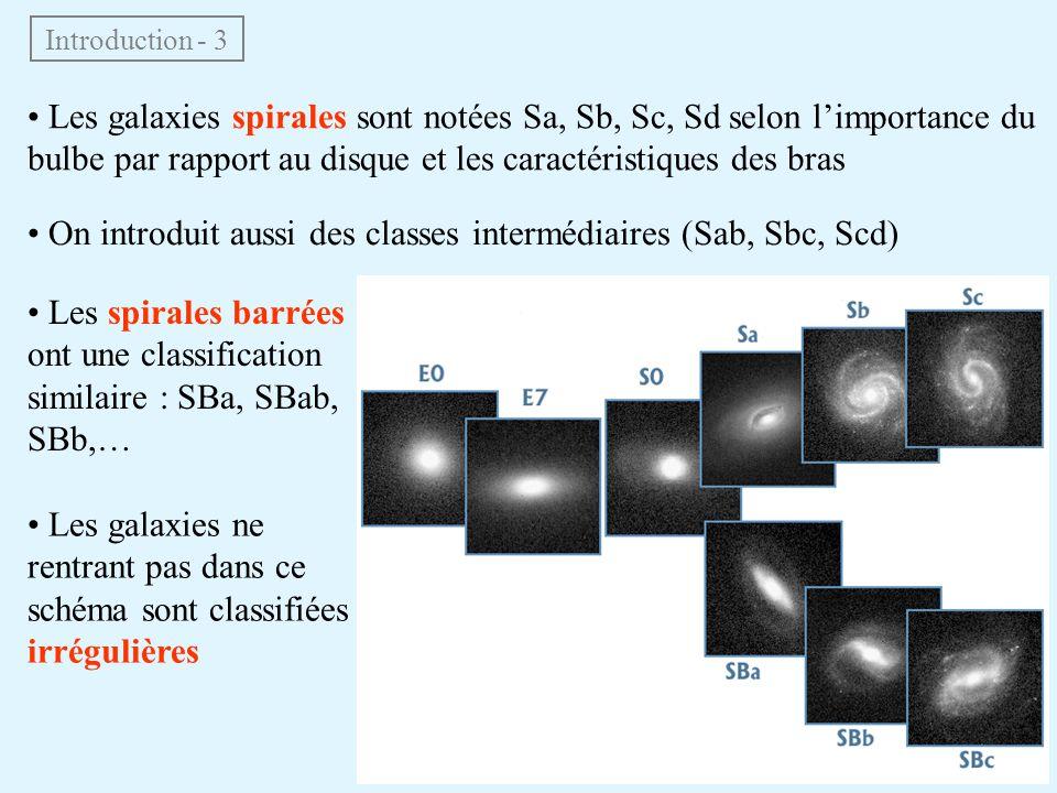 • Les galaxies spirales sont notées Sa, Sb, Sc, Sd selon l'importance du bulbe par rapport au disque et les caractéristiques des bras Introduction - 3