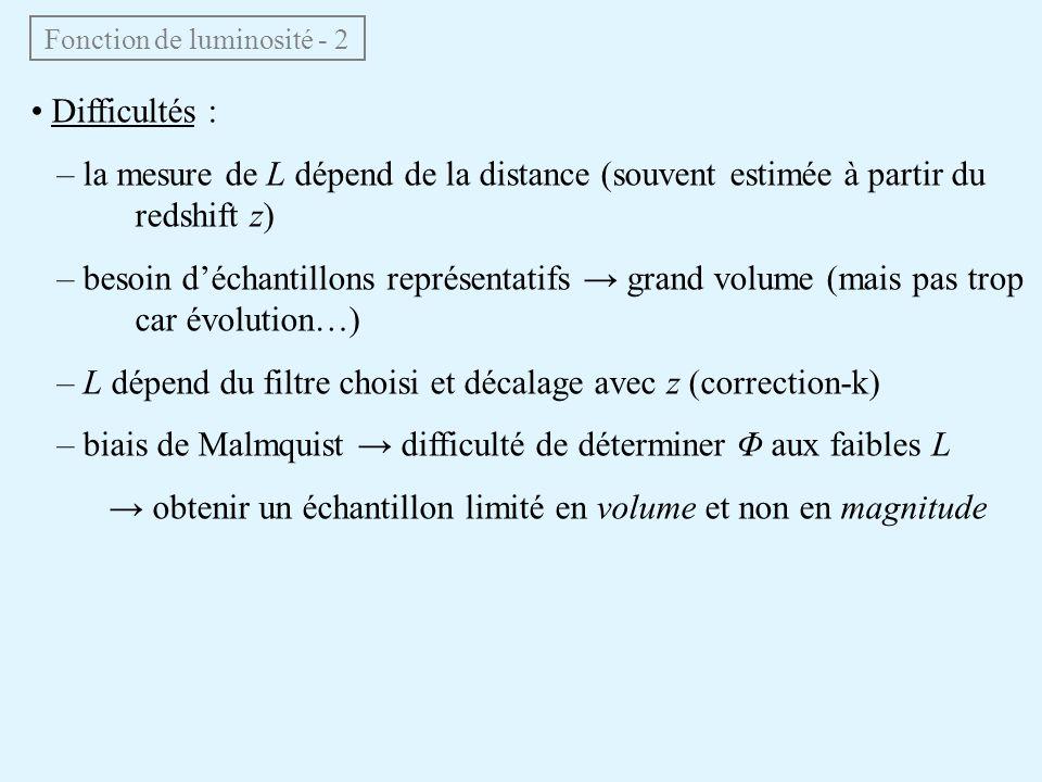 Fonction de luminosité - 2 • Difficultés : – la mesure de L dépend de la distance (souvent estimée à partir du redshift z) – besoin d'échantillons rep