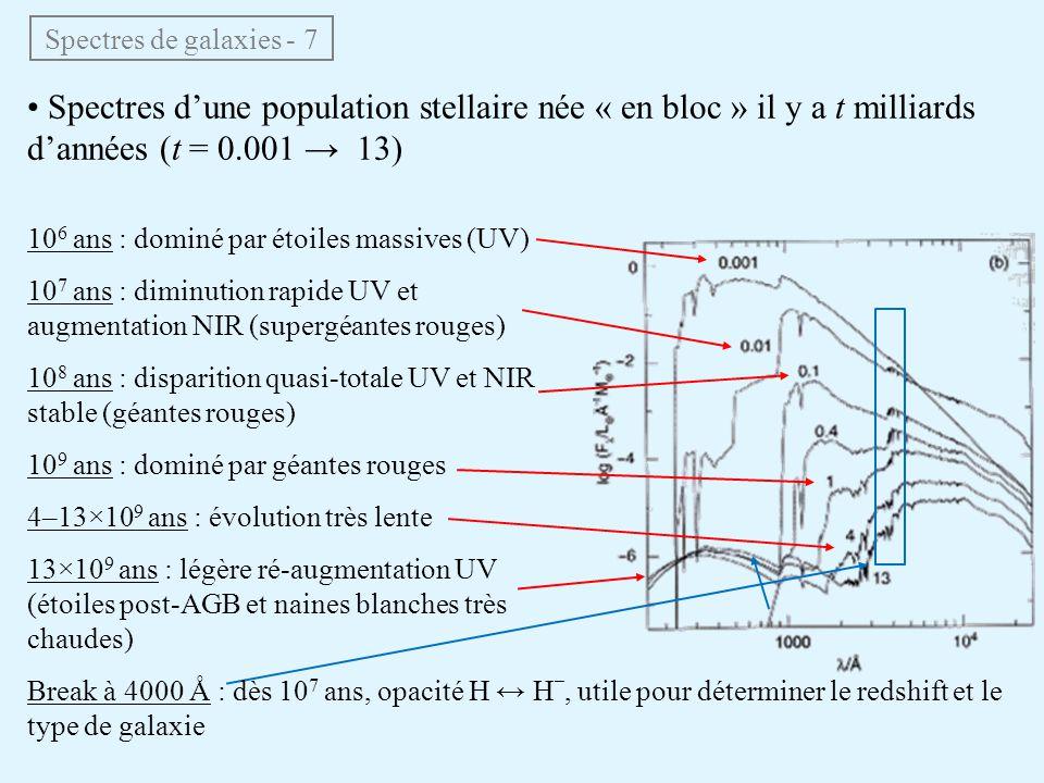 Spectres de galaxies - 7 • Spectres d'une population stellaire née « en bloc » il y a t milliards d'années (t = 0.001 → 13) 10 6 ans : dominé par étoi