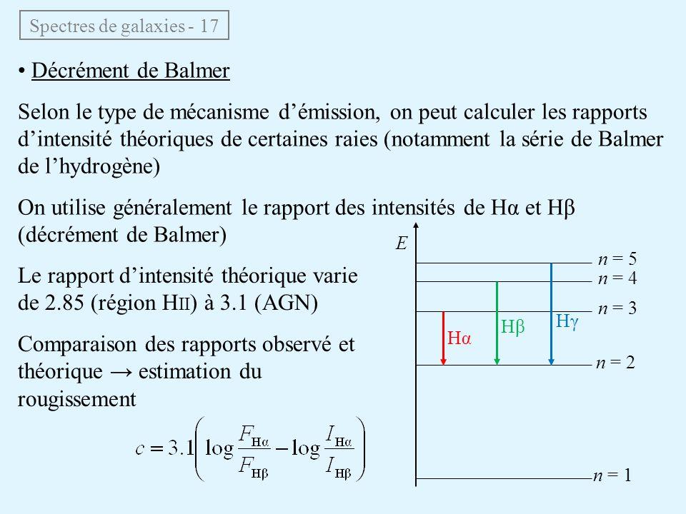 Spectres de galaxies - 17 • Décrément de Balmer Selon le type de mécanisme d'émission, on peut calculer les rapports d'intensité théoriques de certain
