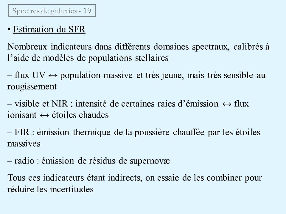 Spectres de galaxies - 19 • Estimation du SFR Nombreux indicateurs dans différents domaines spectraux, calibrés à l'aide de modèles de populations ste