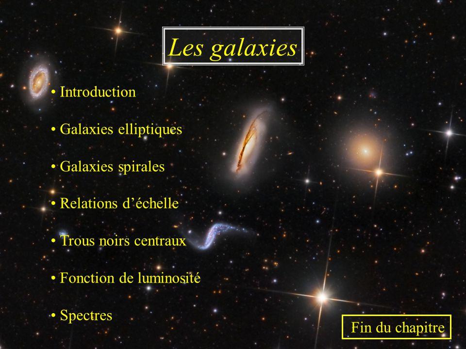 Les galaxies • Introduction • Galaxies elliptiques • Galaxies spirales • Relations d'échelle • Trous noirs centraux • Fonction de luminosité • Spectre