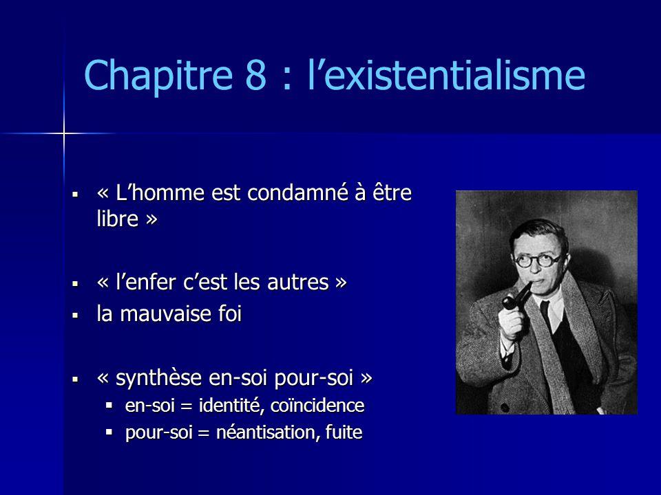 Chapitre 8 : l'existentialisme  « L'homme est condamné à être libre »  « l'enfer c'est les autres »  la mauvaise foi  « synthèse en-soi pour-soi »