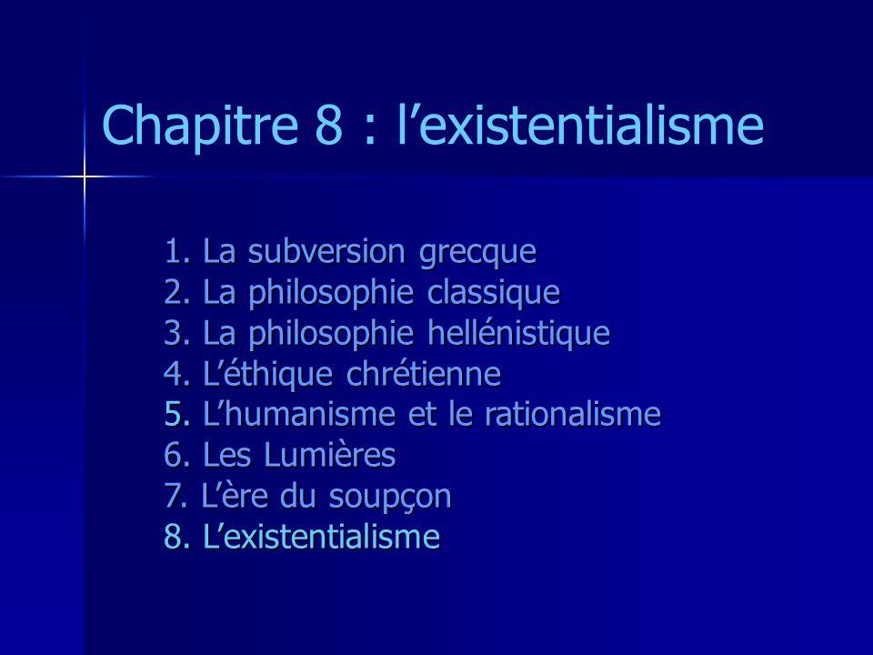 Chapitre 8 : l'existentialisme 1. La subversion grecque 2. La philosophie classique 3. La philosophie hellénistique 4. L'éthique chrétienne 5. L'human