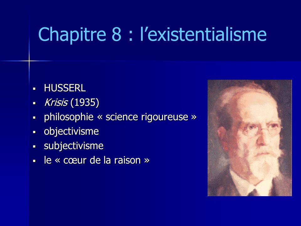 Chapitre 8 : l'existentialisme  HUSSERL  Krisis (1935)  philosophie « science rigoureuse »  objectivisme  subjectivisme  le « cœur de la raison
