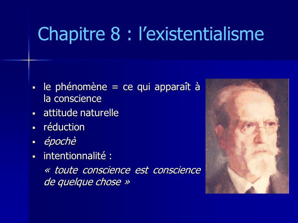 Chapitre 8 : l'existentialisme  le phénomène = ce qui apparaît à la conscience  attitude naturelle  réduction  épochè  intentionnalité : « toute
