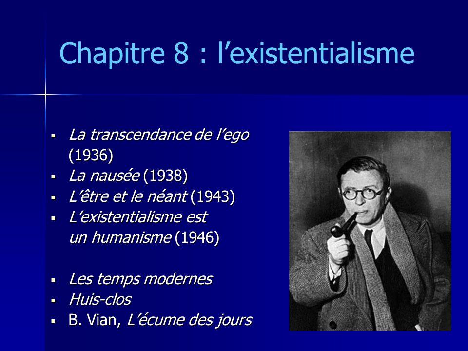 Chapitre 8 : l'existentialisme  La transcendance de l'ego (1936)  La nausée (1938)  L'être et le néant (1943)  L'existentialisme est un humanisme