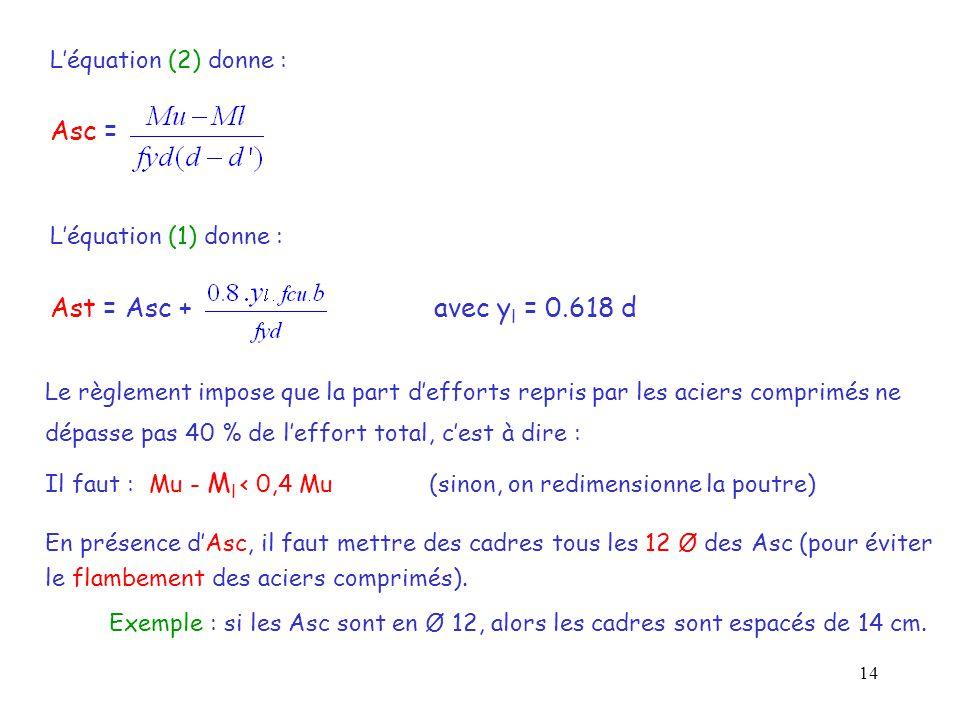 14 L'équation (2) donne : Asc = L'équation (1) donne : Ast = Asc + avec y l = 0.618 d Le règlement impose que la part d'efforts repris par les aciers