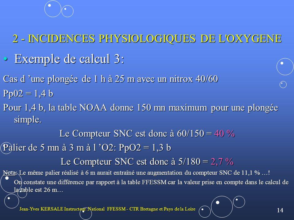 14 Jean-Yves KERSALE Instructeur.National FFESSM - CTR Bretagne et Pays de la Loire 2 - INCIDENCES PHYSIOLOGIQUES DE L OXYGENE •Exemple de calcul 3: Cas d 'une plongée de 1 h à 25 m avec un nitrox 40/60 Pp02 = 1,4 b Pour 1,4 b, la table NOAA donne 150 mn maximum pour une plongée simple.