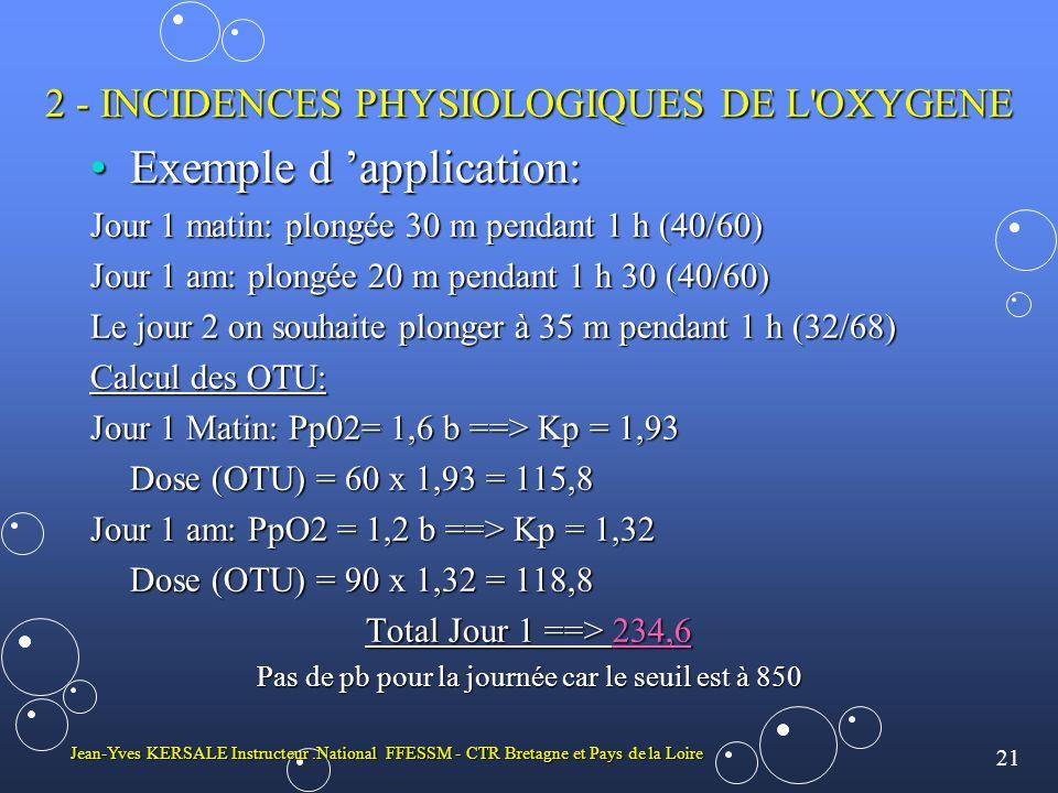 21 Jean-Yves KERSALE Instructeur.National FFESSM - CTR Bretagne et Pays de la Loire 2 - INCIDENCES PHYSIOLOGIQUES DE L OXYGENE •Exemple d 'application: Jour 1 matin: plongée 30 m pendant 1 h (40/60) Jour 1 am: plongée 20 m pendant 1 h 30 (40/60) Le jour 2 on souhaite plonger à 35 m pendant 1 h (32/68) Calcul des OTU: Jour 1 Matin: Pp02= 1,6 b ==> Kp = 1,93 Dose (OTU) = 60 x 1,93 = 115,8 Jour 1 am: PpO2 = 1,2 b ==> Kp = 1,32 Dose (OTU) = 90 x 1,32 = 118,8 Total Jour 1 ==> 234,6 Pas de pb pour la journée car le seuil est à 850