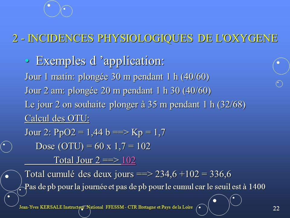 22 Jean-Yves KERSALE Instructeur.National FFESSM - CTR Bretagne et Pays de la Loire 2 - INCIDENCES PHYSIOLOGIQUES DE L OXYGENE •Exemples d 'application: Jour 1 matin: plongée 30 m pendant 1 h (40/60) Jour 2 am: plongée 20 m pendant 1 h 30 (40/60) Le jour 2 on souhaite plonger à 35 m pendant 1 h (32/68) Calcul des OTU: Jour 2: PpO2 = 1,44 b ==> Kp = 1,7 Dose (OTU) = 60 x 1,7 = 102 Total Jour 2 ==> 102 Total cumulé des deux jours ==> 234,6 +102 = 336,6 Pas de pb pour la journée et pas de pb pour le cumul car le seuil est à 1400