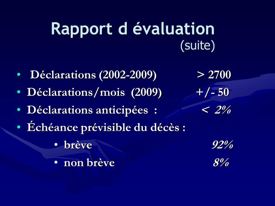 • Déclarations (2002-2009) > 2700 •Déclarations/mois (2009) +/- 50 •Déclarations anticipées : < 2% •Échéance prévisible du décès : • brève 92% • non b