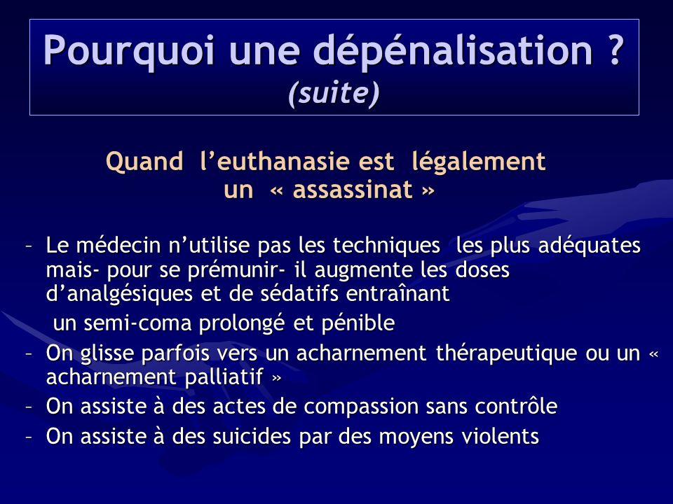 Quand l'euthanasie est légalement un « assassinat » un « assassinat » –Le médecin n'utilise pas les techniques les plus adéquates mais- pour se prémun